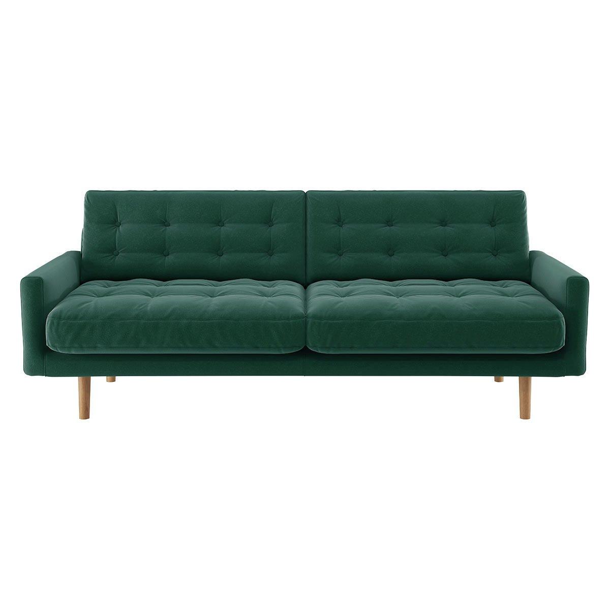Habitat Fenner 3 Seater Velvet Sofa - Emerald Green