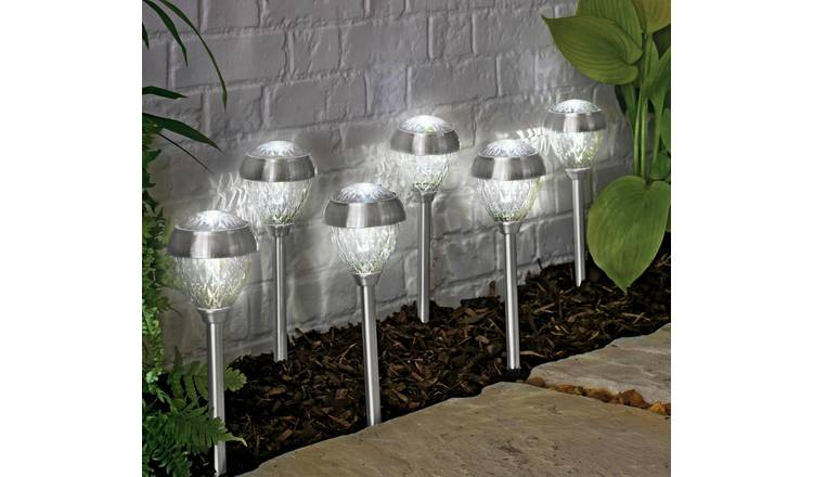 Argos Home Set of 6 Stainless Steel Crown Twin Solar Lights
