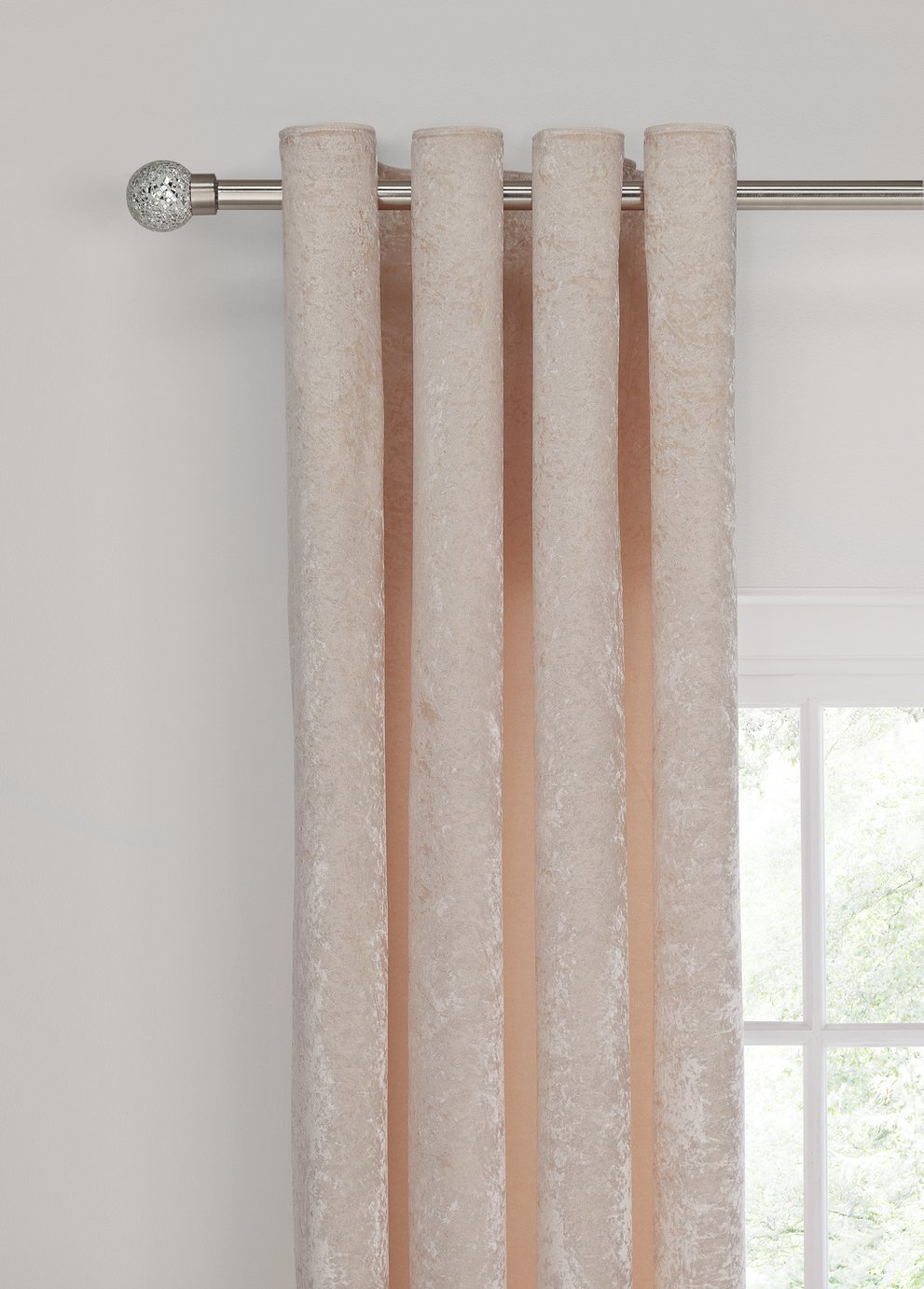 Argos Home Velvet Lined Eyelet Curtains - Champagne