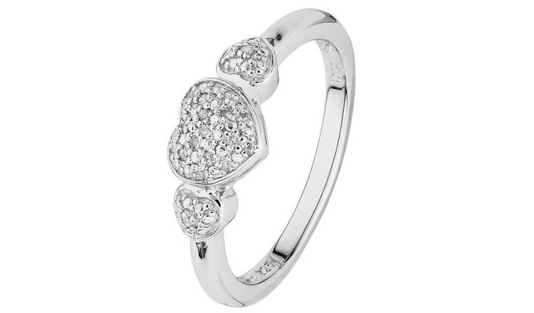 Revere Sterling Silver Diamond Heart Cluster Ring - O