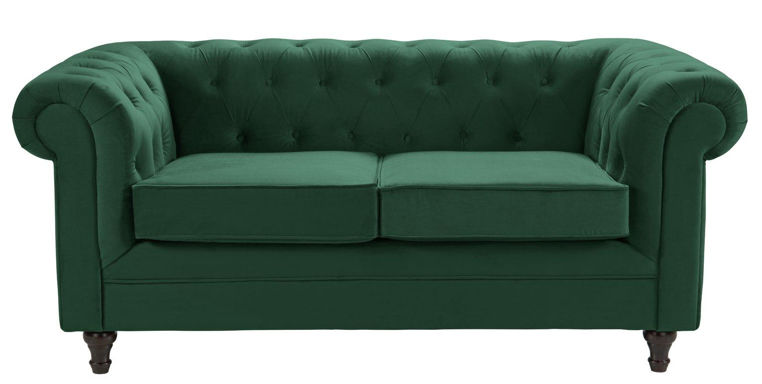 Habitat Chesterfield 2 Seater Velvet Sofa - Green