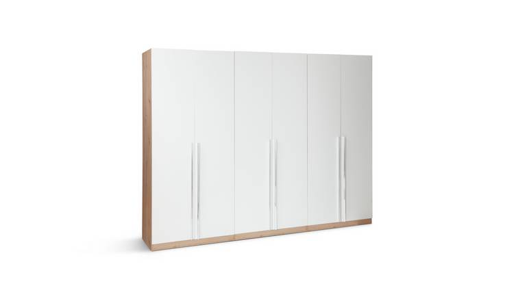 Habitat Munich 6 Door Wardrobe - White & Oak Effect