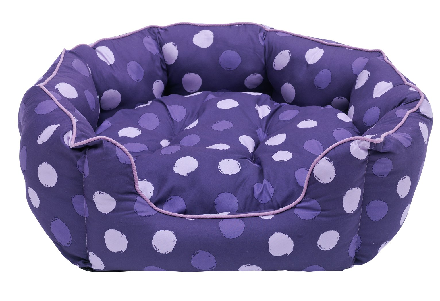 Spotted Oval Dog Bed Purple/Pink - Large