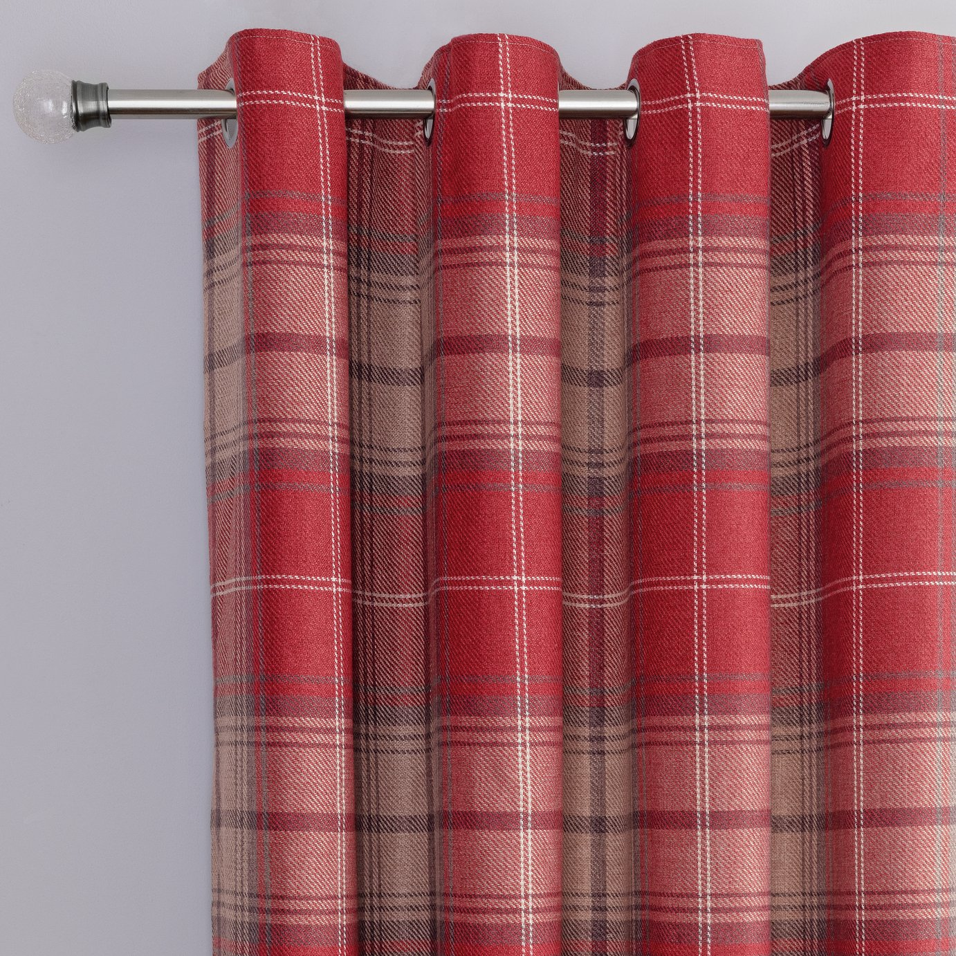 Argos Home Traditional Brushed Check Eyelet Cutains - Red