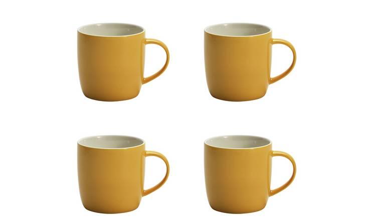 Buy Argos Home Set of 4 Mugs Yellow   Cups and mugs   Argos