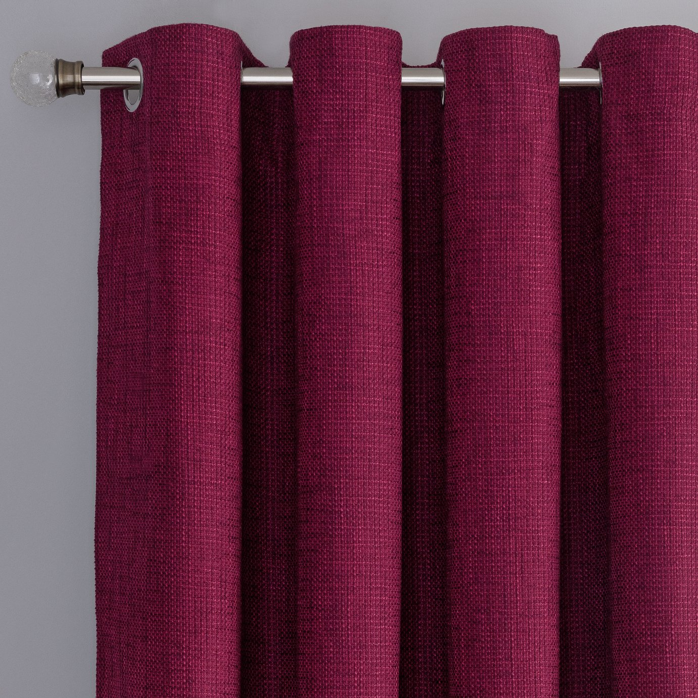 Argos Home Weave Blackout Lined Eyelet Curtains - Berry
