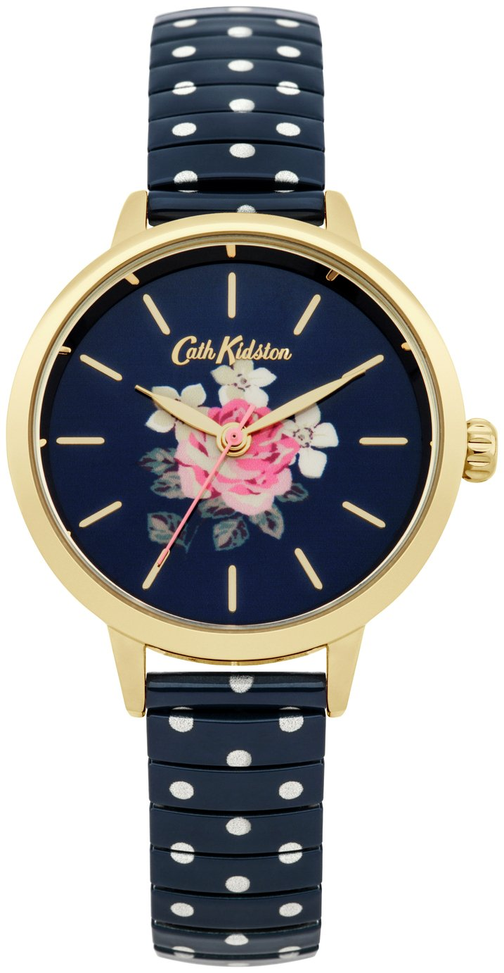 Cath Kidston Ladies Navy Polka Dot Expander Bracelet Watch