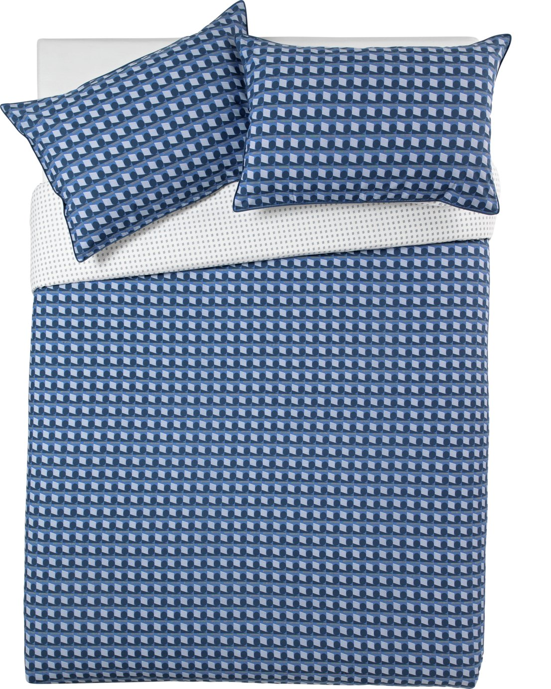 Argos Home Blue Geo Bedding Set - Superking