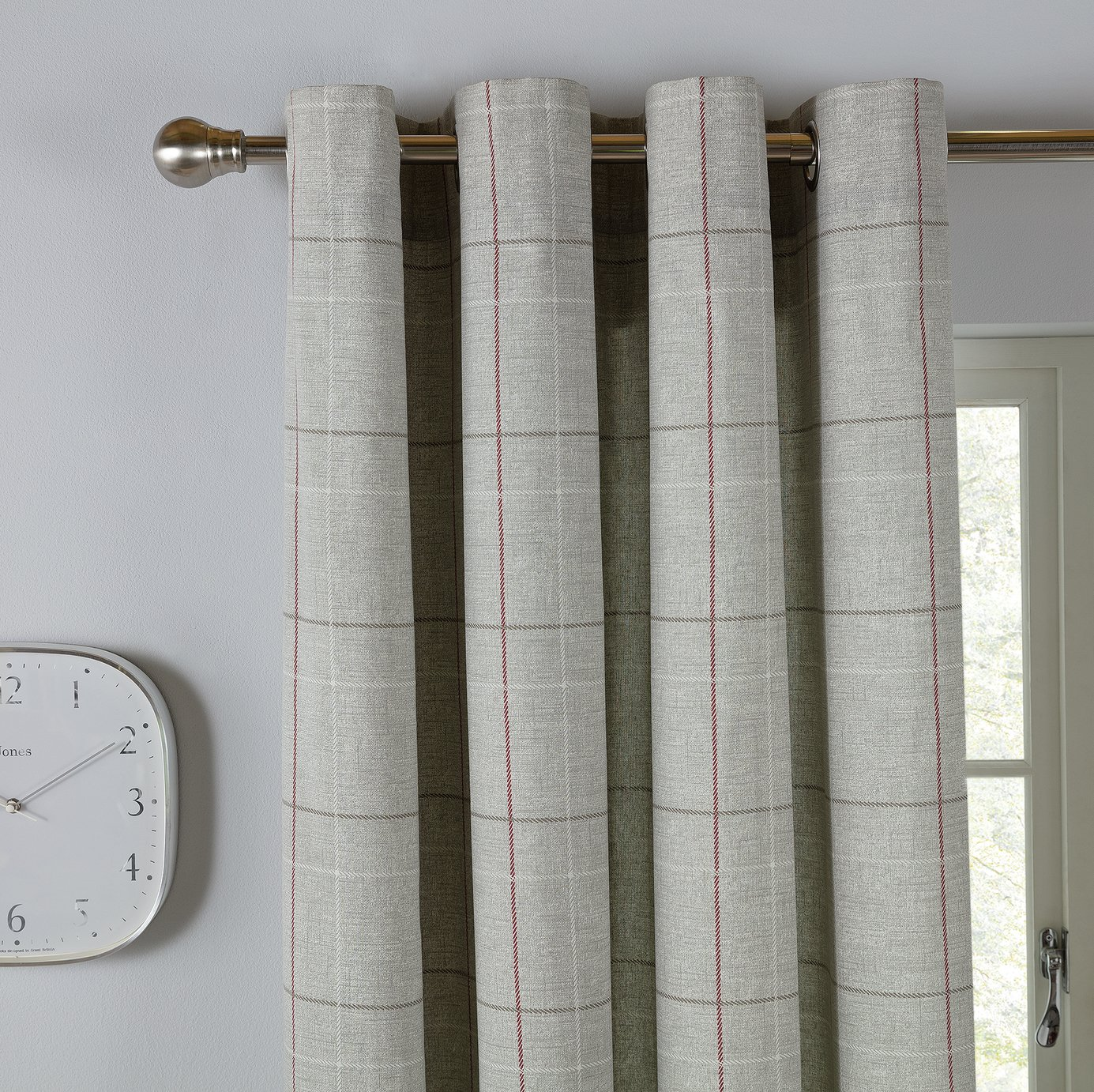 Argos Home Brancaster Check Lined Eyelet Curtains - Grey