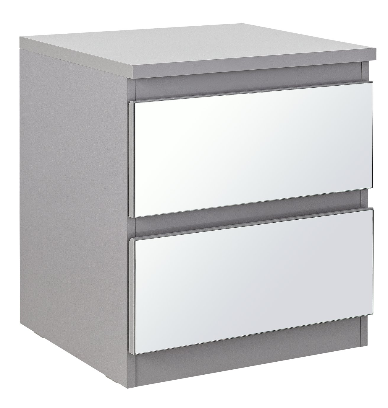 Argos Home Jenson Gloss 2 Drawer Mirror Bedside Table - Grey