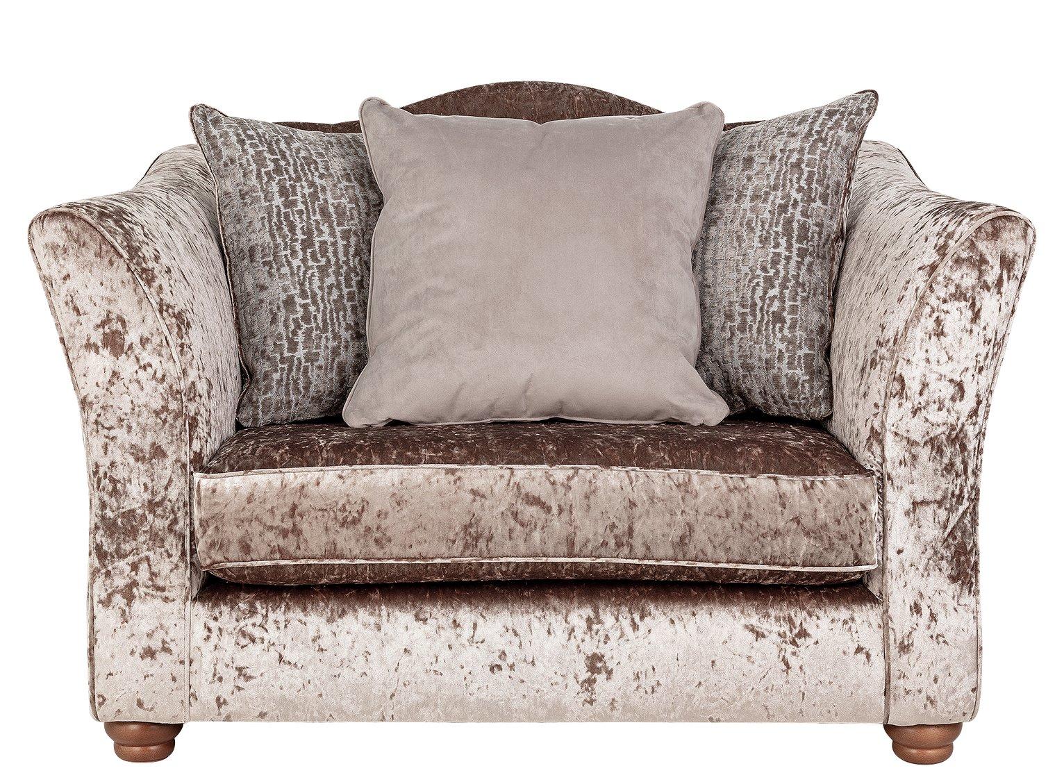 Argos Home Fantasia Velvet Cuddle Chair - Truffle