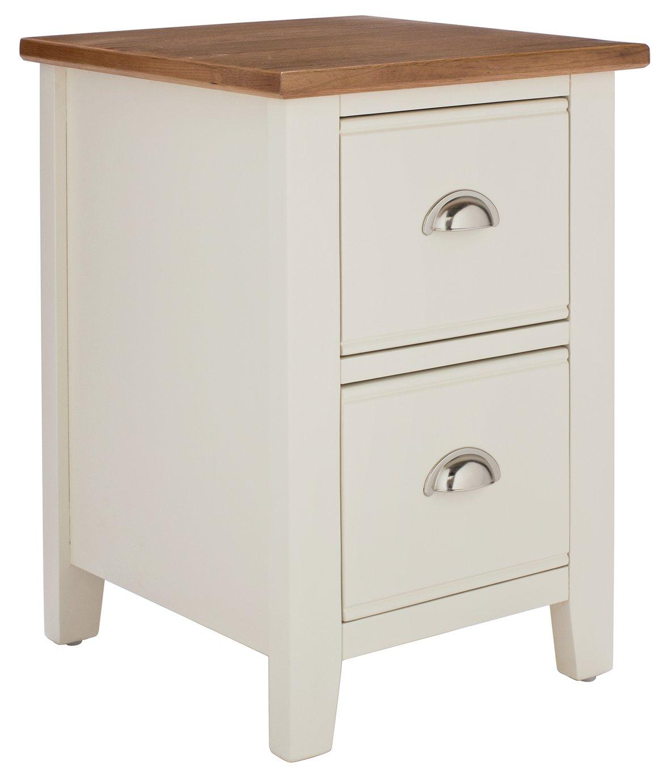 Argos Home Highbury 2 Drawer Bedside Cabinet - Oak & Cream
