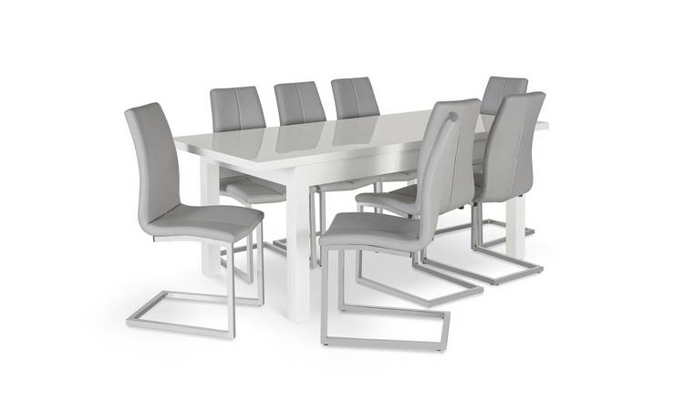 Buy Argos Home Lyssa Extending Xl Gloss Table 8 Chairs Grey Dining Table And Chair Sets Argos