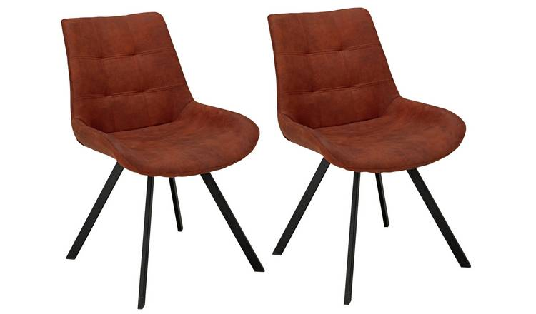 Argos Home Tribeca Pair of Microfibre Dining Chairs - Tan