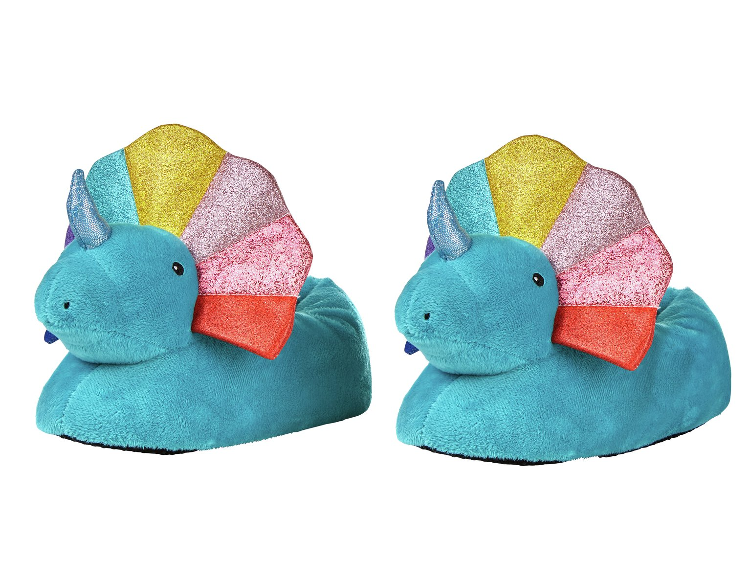 Imagination Station Rainbow Dinosaur Slippers