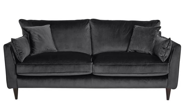 Buy Argos Home Hector 3 Seater Velvet Sofa - Grey | Sofas | Argos