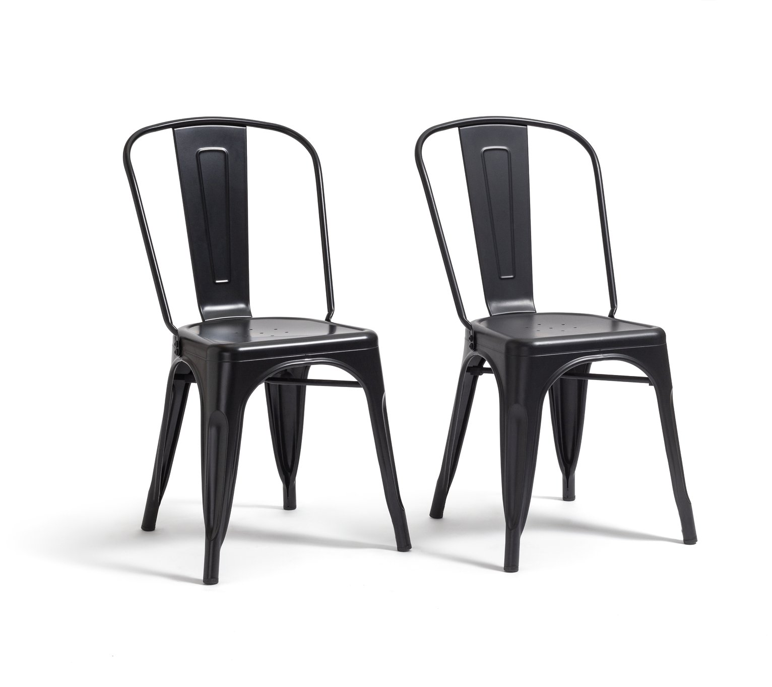Argos Home Industrial Pair of Metal Dining Chairs-Matt Black