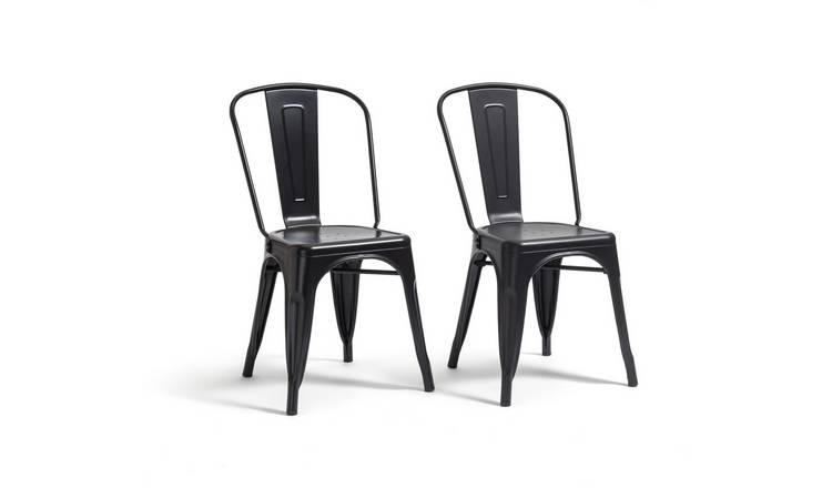 Swell Buy Argos Home Industrial Pair Of Metal Dining Chairs Matt Black Dining Chairs Argos Caraccident5 Cool Chair Designs And Ideas Caraccident5Info