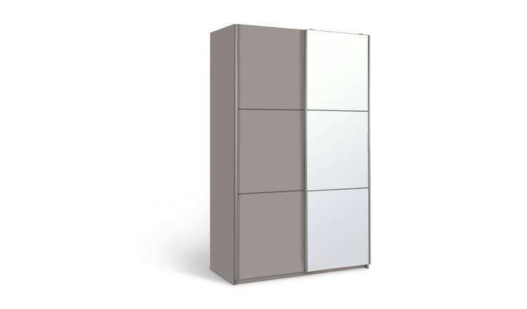 Habitat Holsted Small Grey Gloss & Mirror Wardrobe