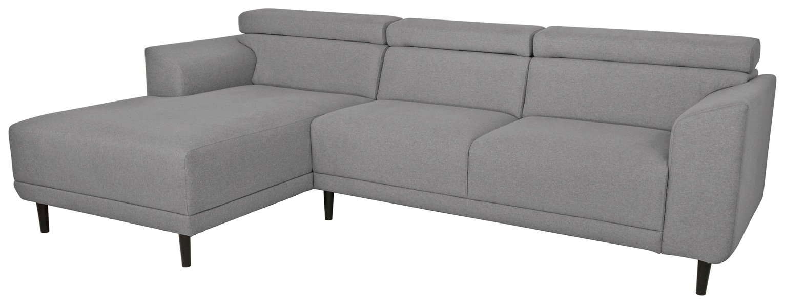 Argos Home Jonas Left Corner Fabric Sofa - Light Grey