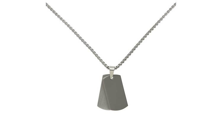 Revere Men's Stainless Steel Double Dog Tag Pendant Necklace