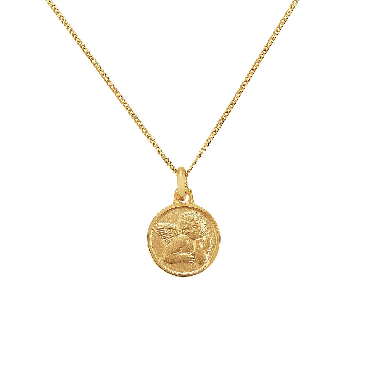 Revere 9ct Yellow Gold Angel Medal Pendant