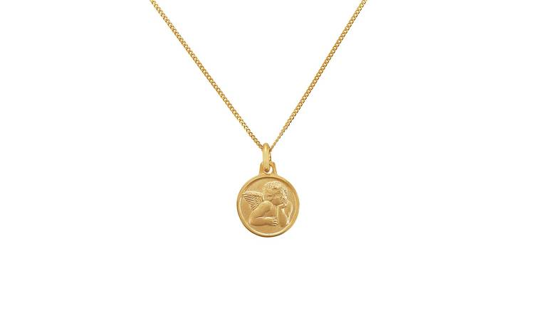 Revere 9ct Gold Angel Medal Pendant Necklace