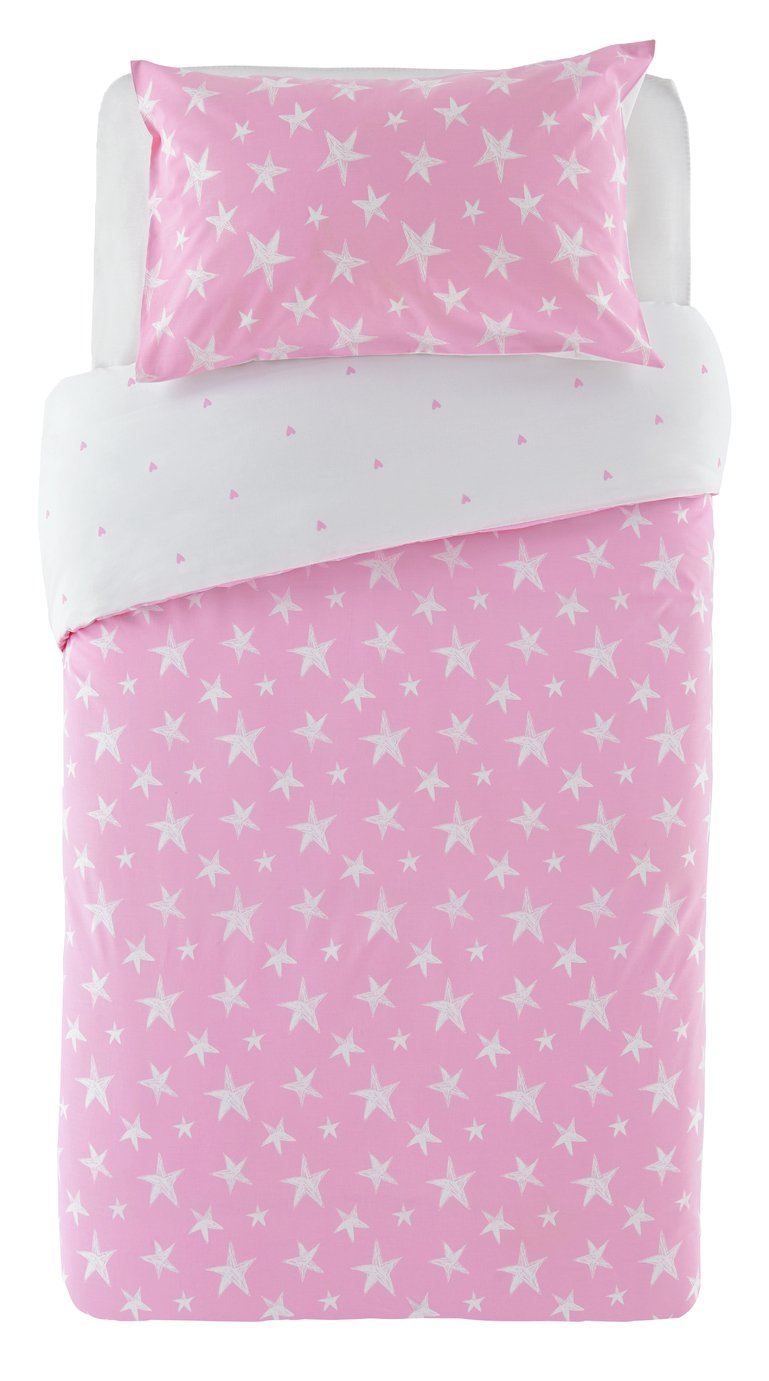 Argos Home Pink Star Bedding Set - Single