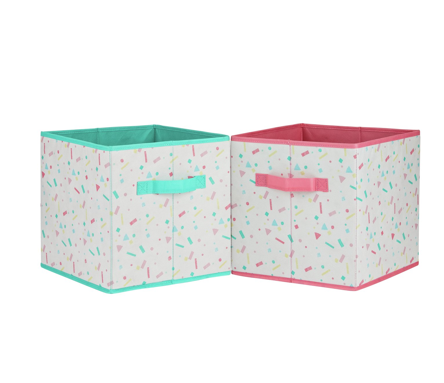Argos Home Set of 4 Confetti Canvas Boxes