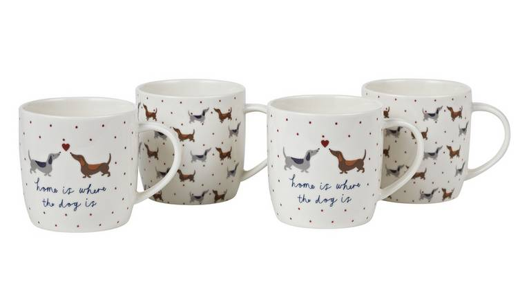 Argos Home Set of 4 Spotty Dachshund Mugs