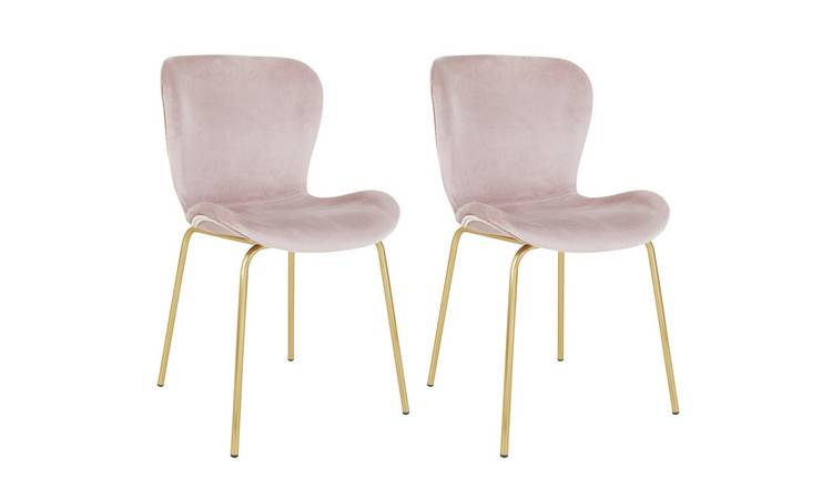 Habitat Etta Pair of Velvet Dining Chair- Pink