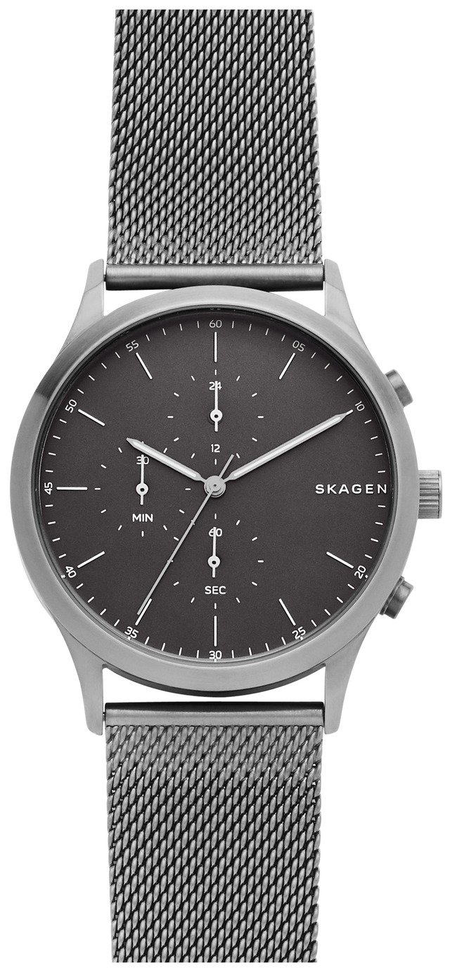Skagen Grey Dial Mens Stainless Steel Watch