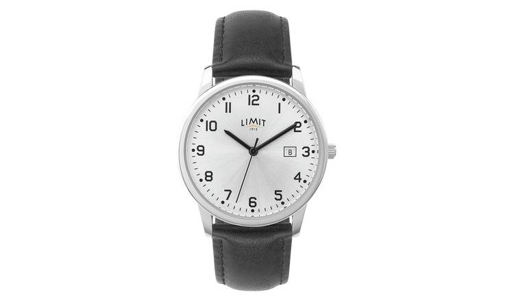 Limit Men's Black Faux Leather Strap Watch