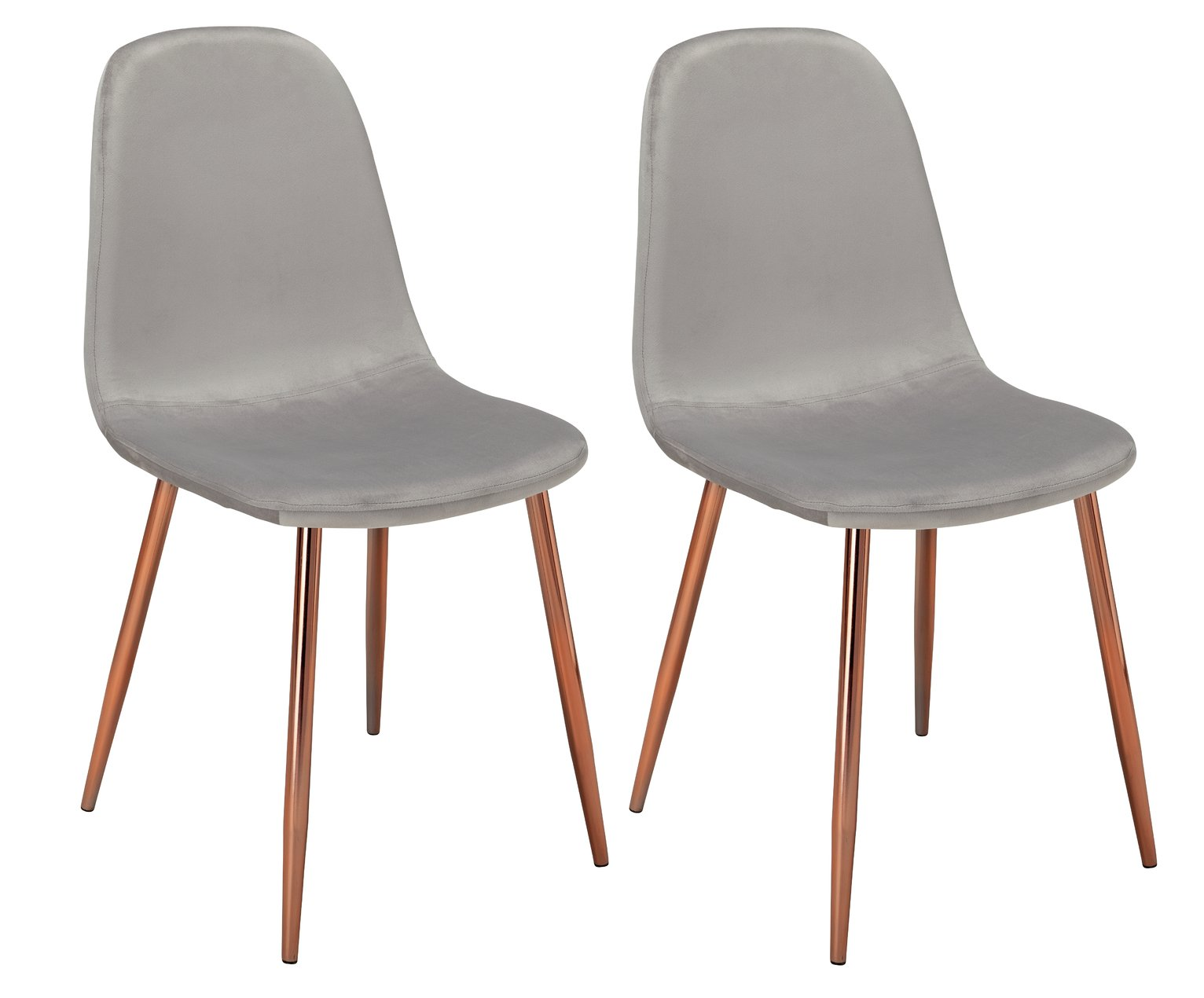 Argos Home Beni Pair of Velvet Dining Chairs - Grey