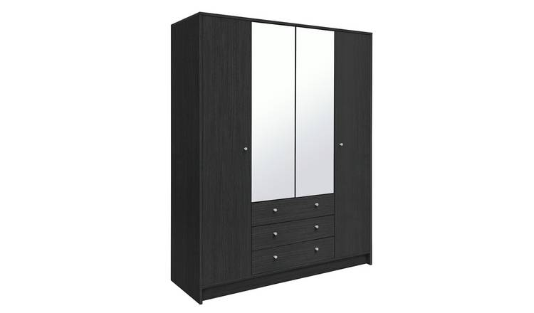 Habitat Malibu 4 Dr 3 Drw Mirror Wardrobe - Black Oak Effect