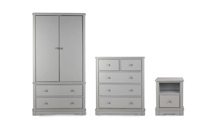 Argos Home Ashbourne 3 Piece 2 Door Wardrobe Set - Soft Grey