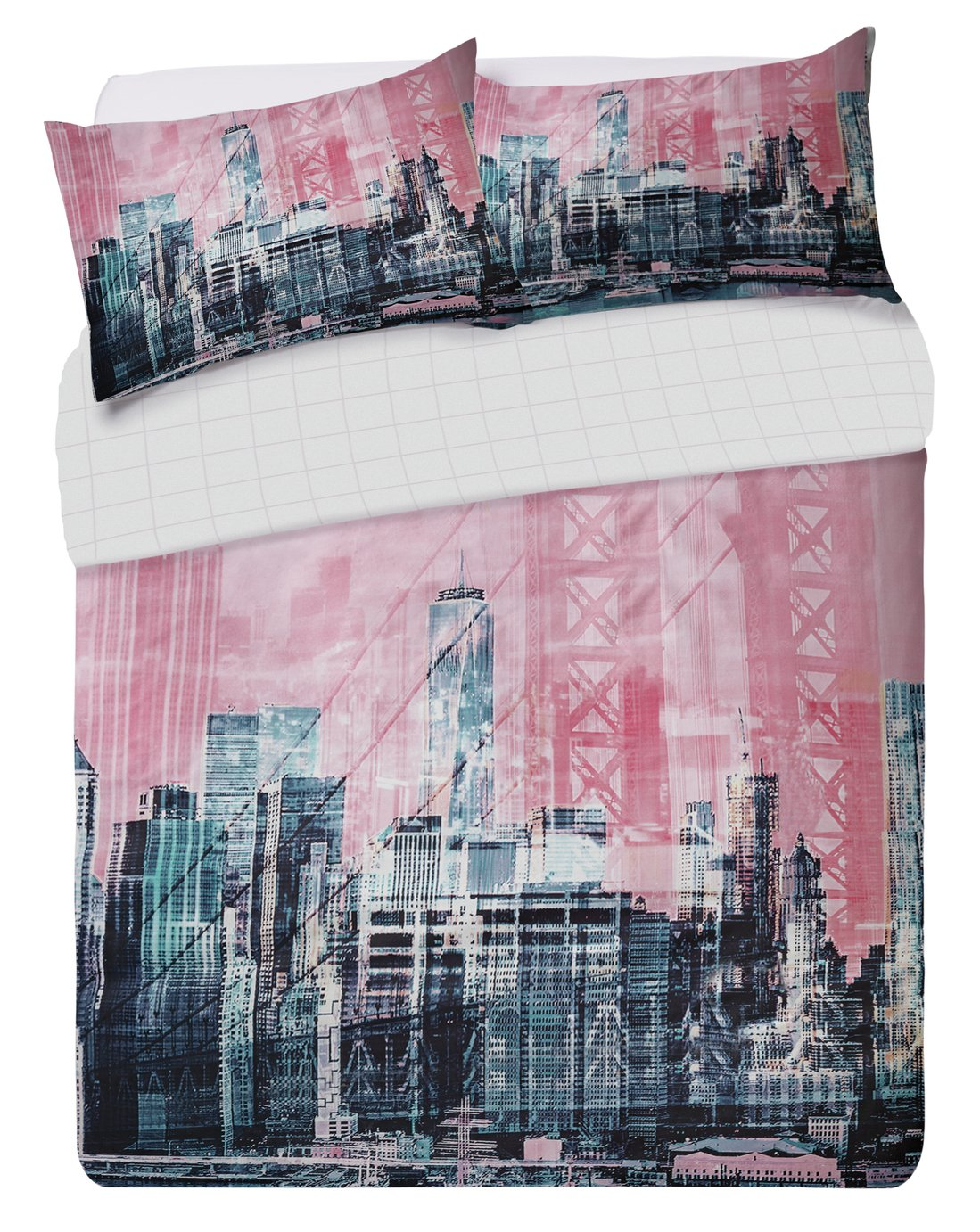Argos Home Pink New York Skyline Bedding Set - Double