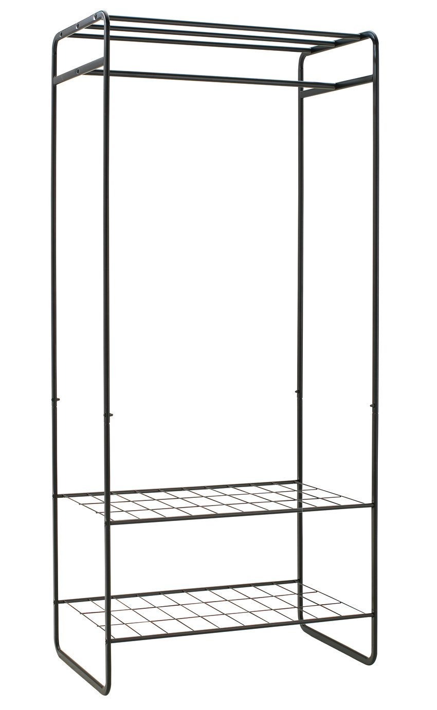 Argos Home Clothes Rail with Shelves - Black
