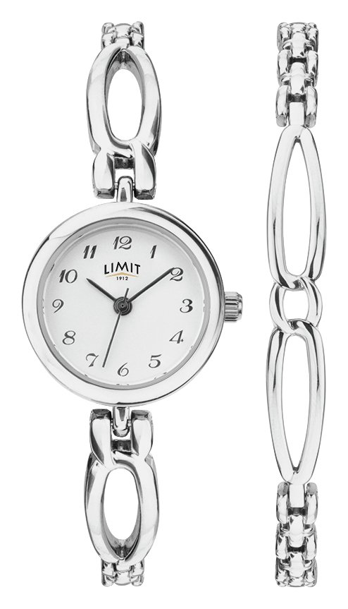 Limit Silver Metal Bracelet Watch and Bangle Bracelet