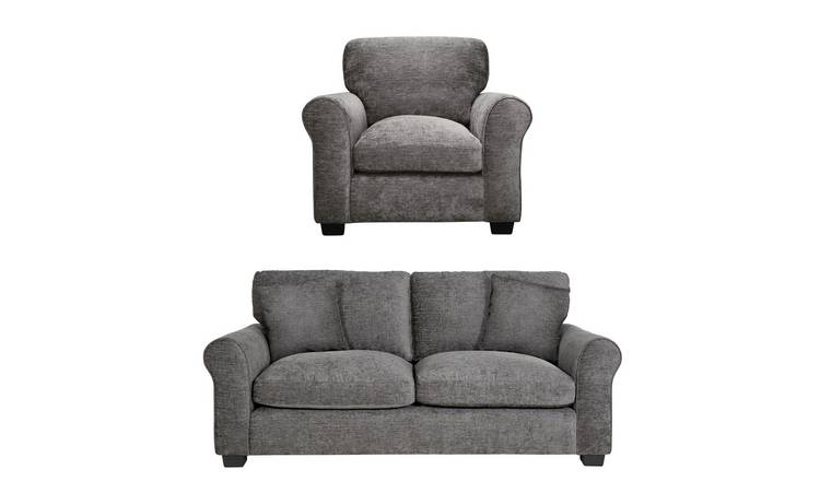 Buy Argos Home Tammy Fabric Chair and 3 Seater Sofa - Charcoal ...