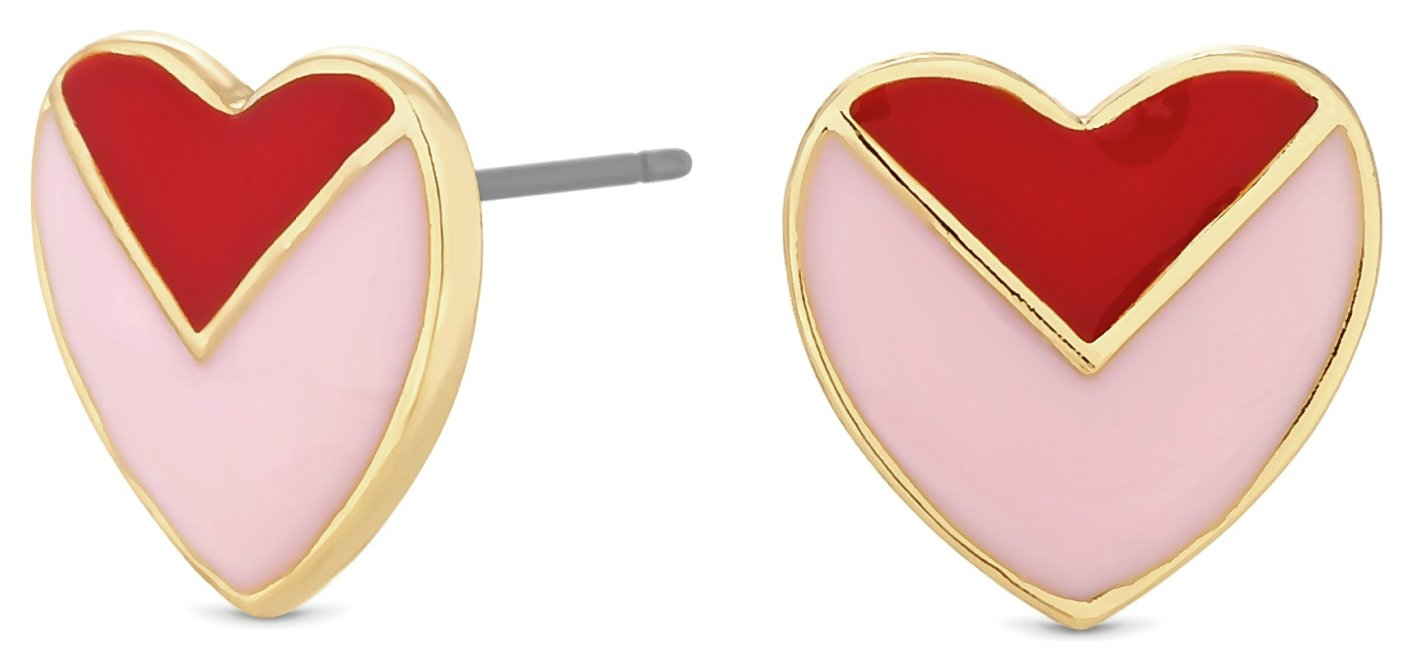 Lipsy Gold Colour Red & Pink Enamel Heart Stud