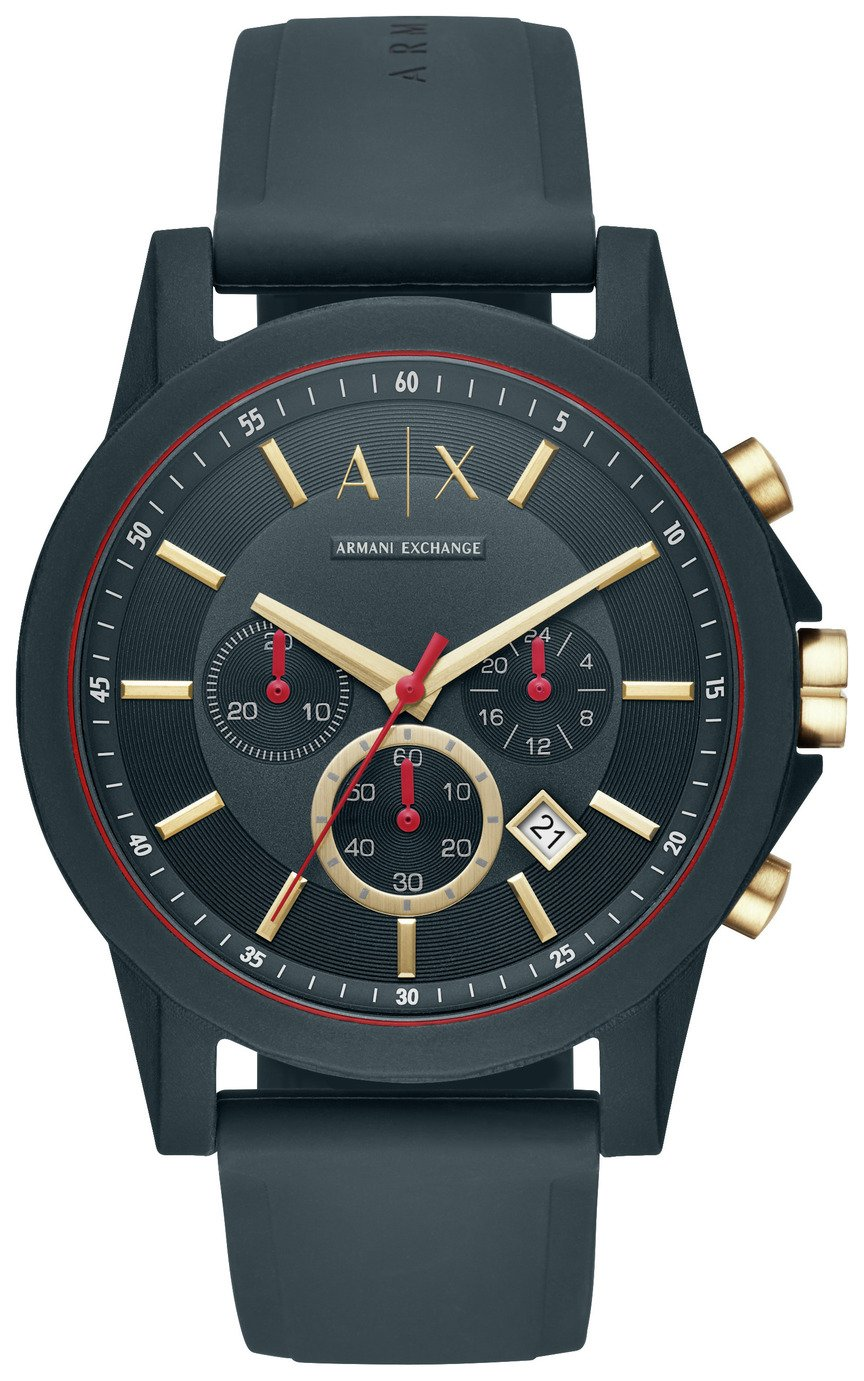 Armani Exchange Blue Dial Mens Silicone Strap Watch
