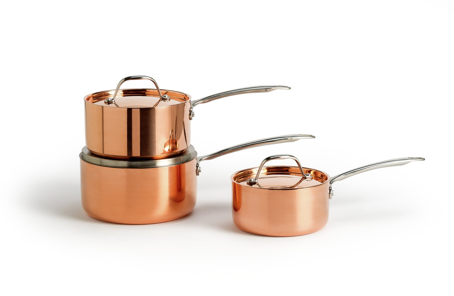 Argos Home 3 Piece Copper Triply Pan Set