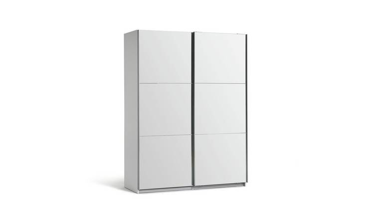 Habitat Holsted Mirrored Medium Wardrobe - White