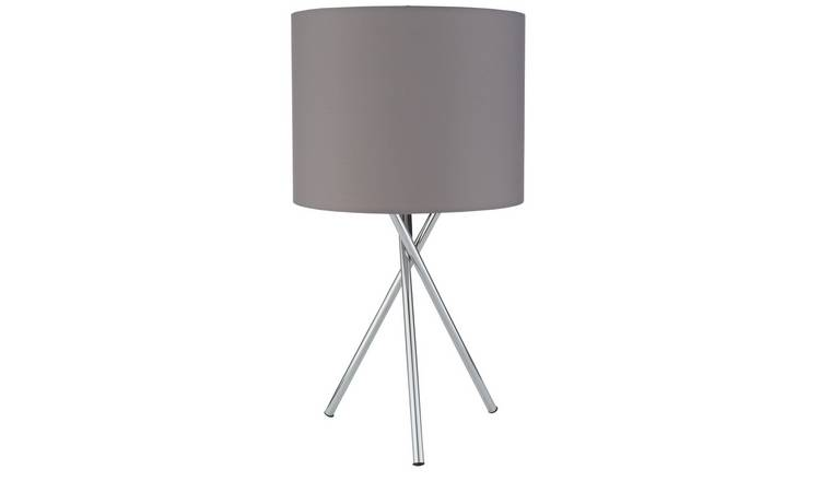 Argos Home Tripod Table Lamp - Chrome & Grey
