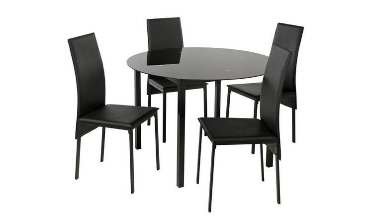 Buy Argos Home Lido Glass Round Dining Table 4 Black Chairs Dining Table And Chair Sets Argos