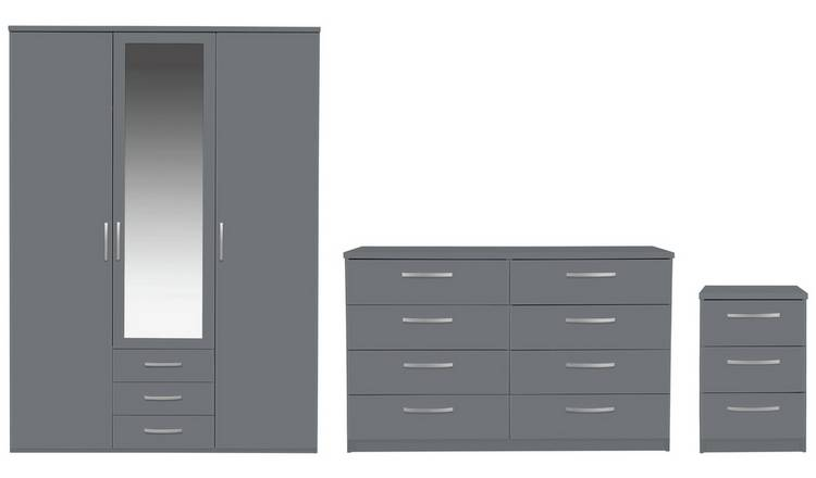 Buy Argos Home Hallingford 3 Piece 3 Door Wardrobe Set Grey Bedroom Furniture Sets Argos