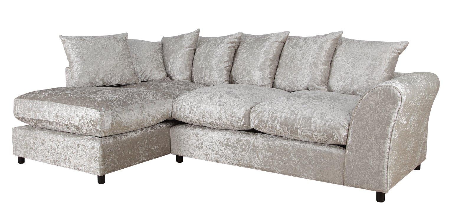Argos Home Megan Large Left Corner Fabric Sofa - Silver