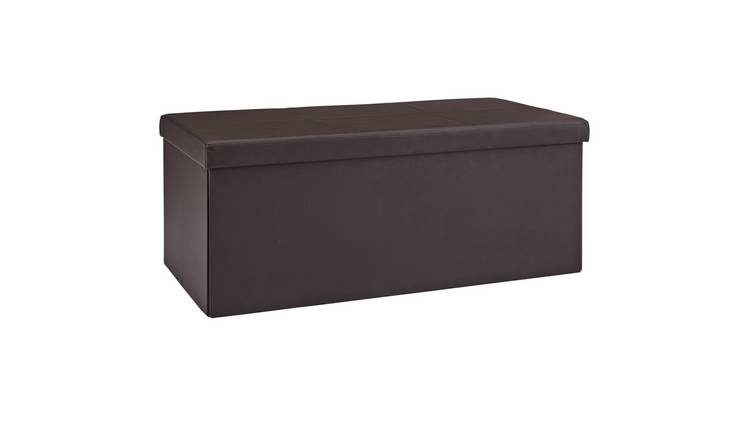 Argos Home Extra Large Faux Leather Stitched Ottoman - Brown