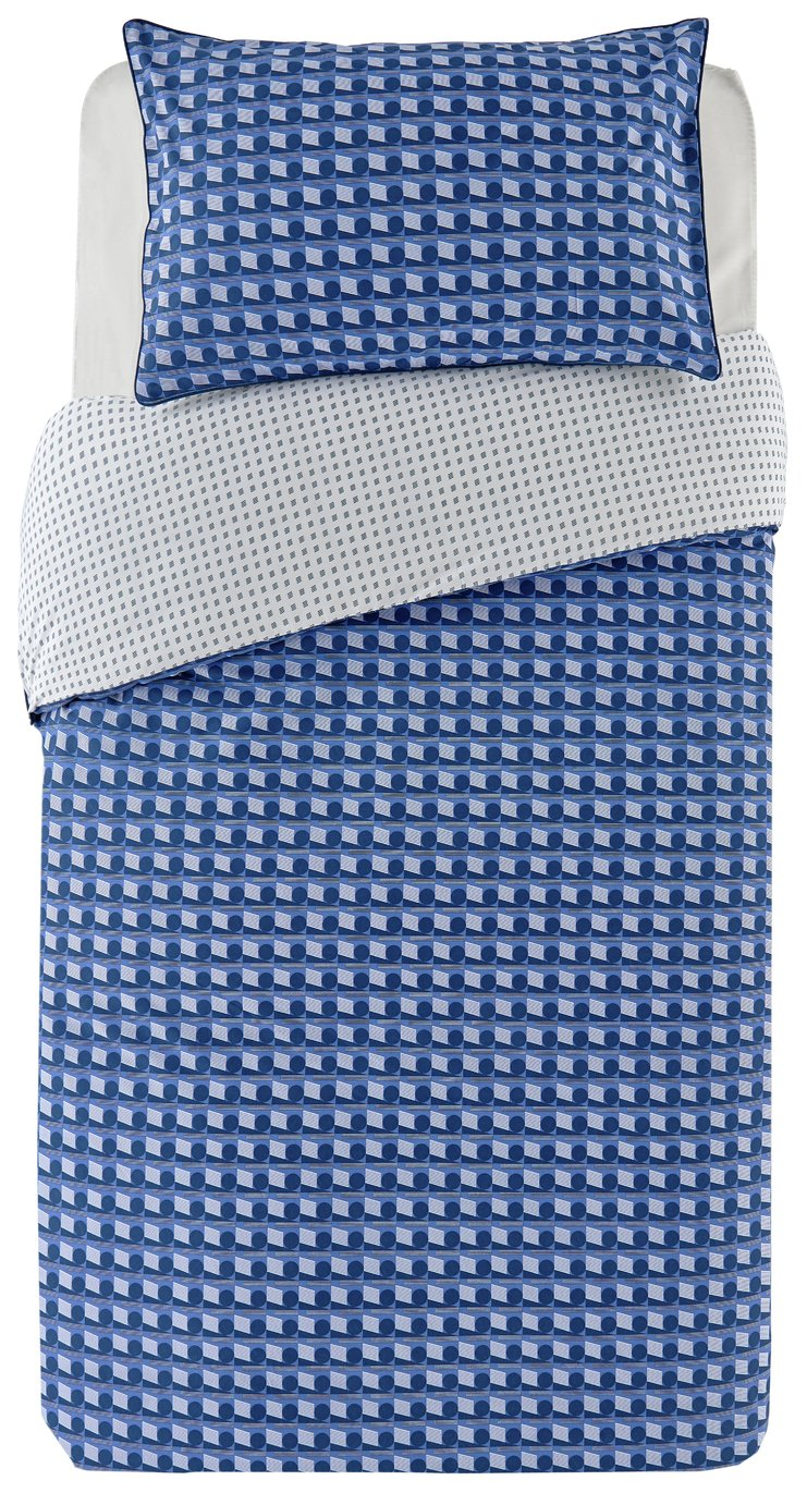 Argos Home Blue Geo Bedding Set - Single